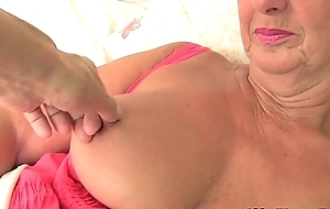 British grandma samantha lubes here the brush grey snatch with the addition of receives finger drilled