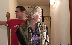 Busty granny is picked up away from juvenile guy