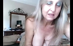 Hawt busty old flirt inserts anal insert and rubs muff
