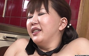 Fat japanese milf moans via in hot water that will not hear of hirsute wet crack is toyed