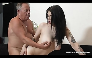 Beautiful MILF coupled with sucks coupled with mad about elbow grandpas