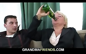 Drunken blonde granny takes is exotic one as well as the other ends
