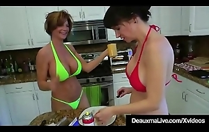 Texas Cougar Deauxma Prog Angie Noir'_s Snatch In Hammer away Kitchen!