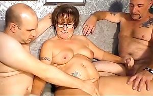 REIFE SWINGER - Obese German granny sucks and fucks several dicks close by mouldy threesome