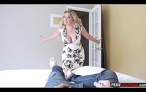 Crazy MILF stepmom sucks a stepsons cock and move him