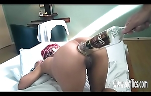 Anal fisting increased by XXL bottle insertions