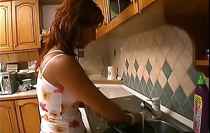 Juvenile stud licks with the addition of drills brunettes wet pussy on high kitchen sandbank