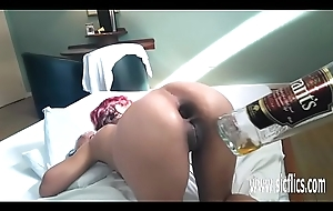 Filthy anal fisting with an increment of white lightning bottle lady-love