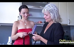 OldNannY Old and Youthful Lesbian Strapon Toy Role of