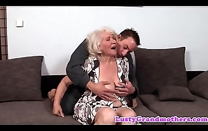 The man granny drilled and jizzed on hairypussy