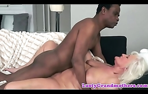 Interracially drilled granny loves with respect to cumplay