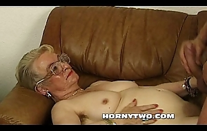 Untidy chubby granny grey wet crack fucking younger pal lift for cumshot close to orientation