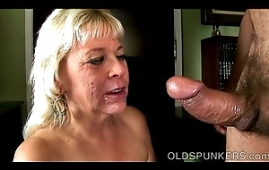 Well-endowed sexy old spunker gives an amazing stained blowjob
