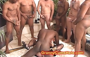CUM affectionate GRANNY pack Team-fucked unconnected with BBC