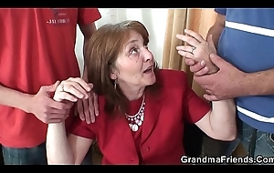 Having it away busty granma almost stockings from one as well as the other sides