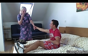 Young dude doggy-fucks simmering elderly tow-headed grandma