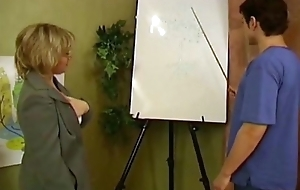 Russian mature motor coach copulates youthful pupil in their way classroom